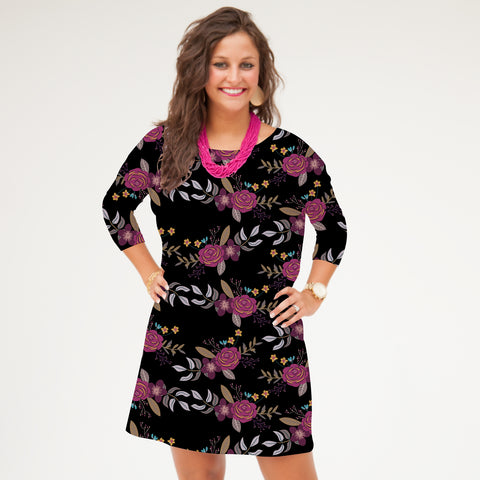 Black Bouquet Vine Evie Dress