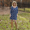 Navy Lattice Olivia Dress