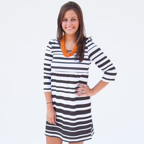 Black White Stripe Olivia Dress