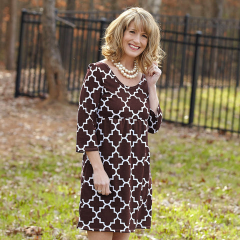 Brown Lattice Olivia Dress