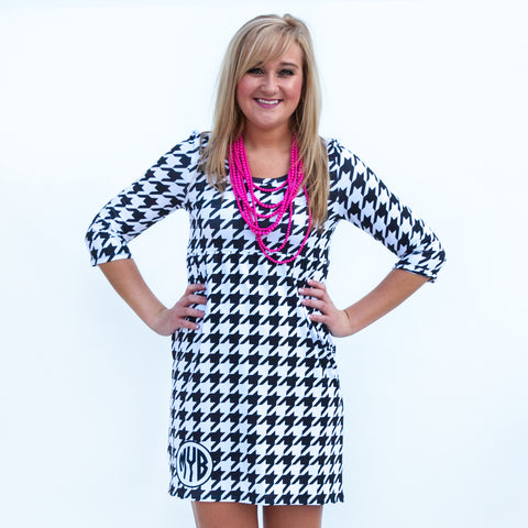 Black Houndstooth Olivia Dress