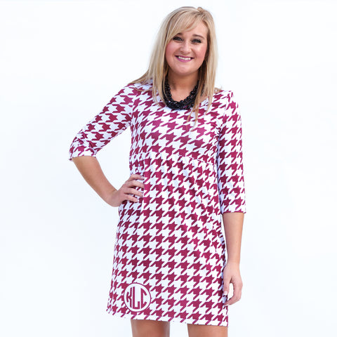 Crimson Houndstooth Olivia Dress