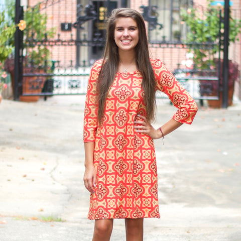 Autumn Mosaic Tiles Olivia Dress