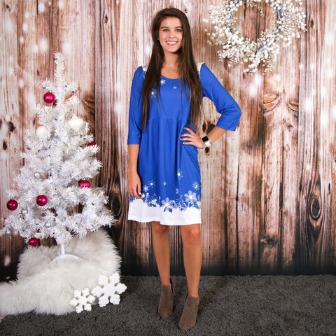 Arctic Snowfall Blue Olivia Dress