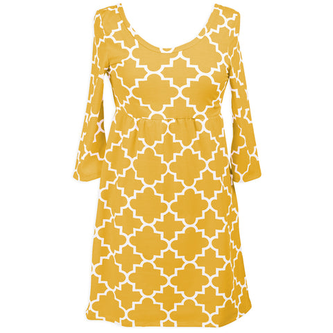 Mustard Lattice Olivia Dress