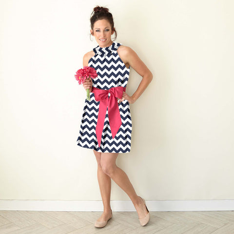 Chevron Ruffle Neck Dress