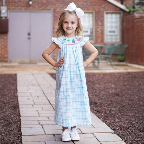 Blue Plaid Pineapple Smocked Bishop Dress