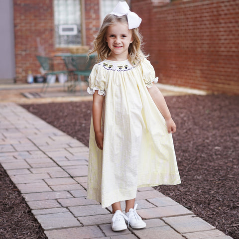 Yellow School Bus Smocked Bishop Dress