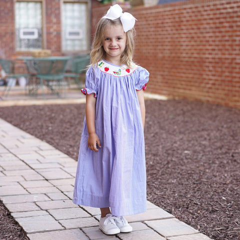Blue Back To School Smocked Bishop Dress