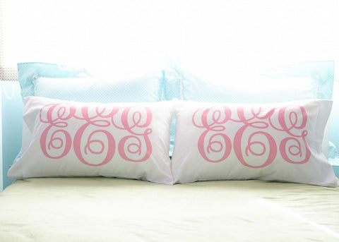 Pink Monogrammed Pillow Case with 3 Initials