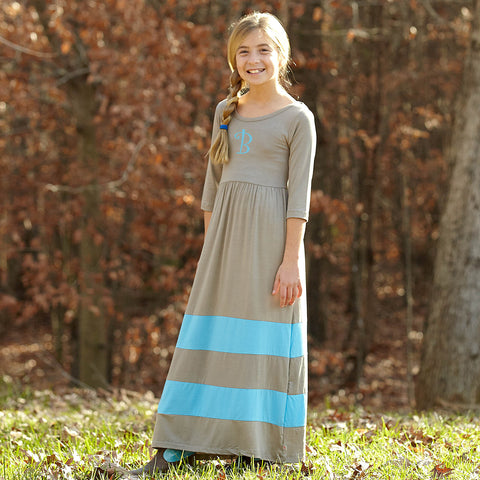 Dark Gray Turquoise Maxi Dress