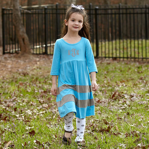 Girls Turquoise Gray Double Stripe Dress