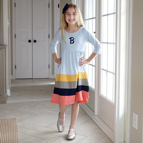 Light Blue Mustard Gray Navy Coral Stripe Dress