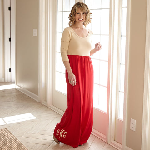 Tan Red Maxi Dress