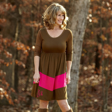 Brown Fuschia Dress