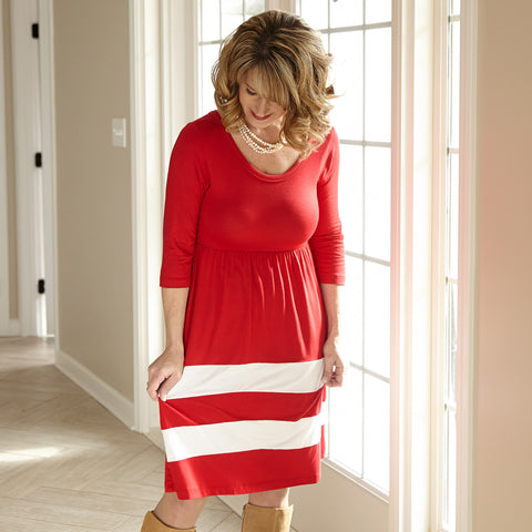 Red White Double Stripe Dress