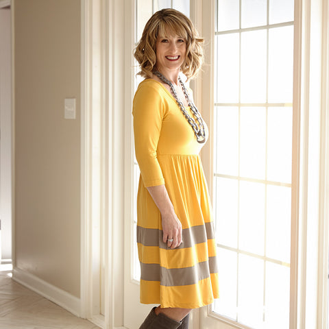 Mustard Gray Double Stripe Dress