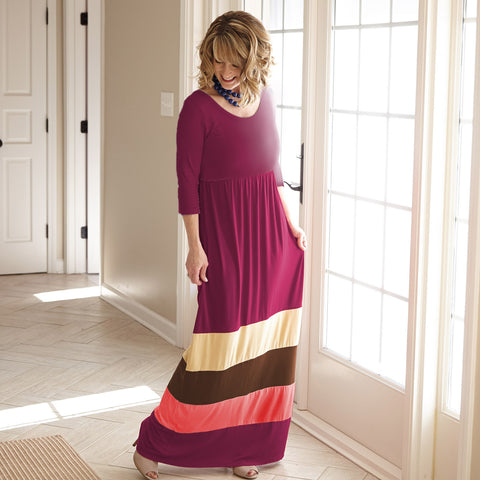 Plum Tan Brown Coral Maxi Dress