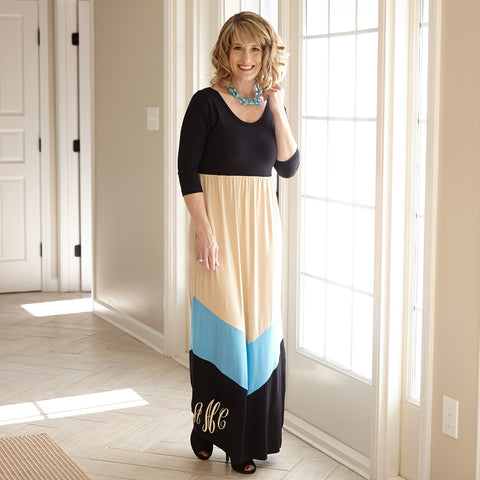 Black Cream Maxi Dress