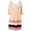 Tan Light Blue Navy Coral Stripe Dress
