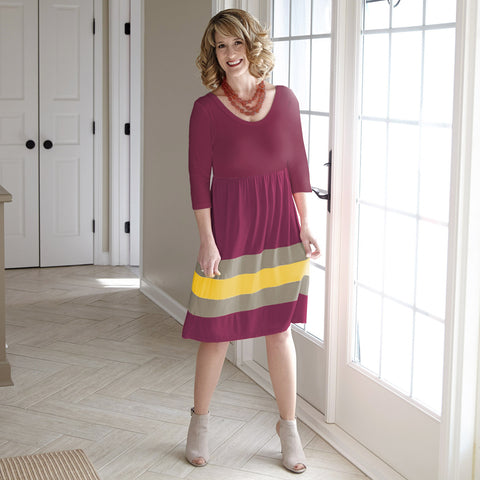 Plum Mustard Gray Dress