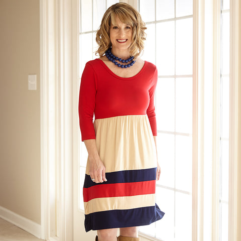 Red Tan Multi Stripe Dress