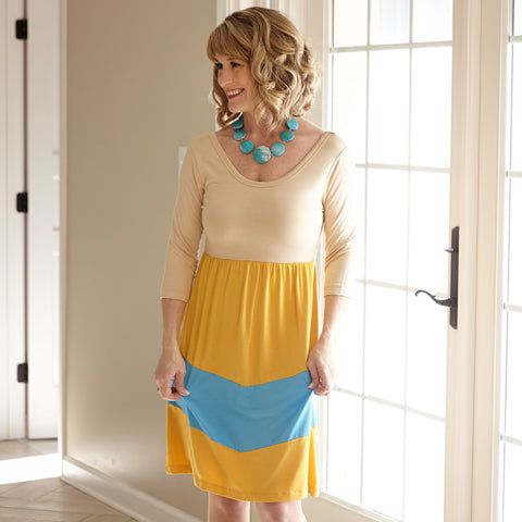 Tan Mustard Turquoise Dress