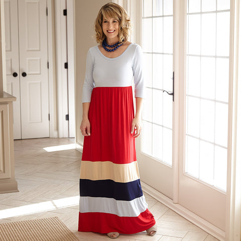 Light Blue Red Tan Navy Maxi Dress