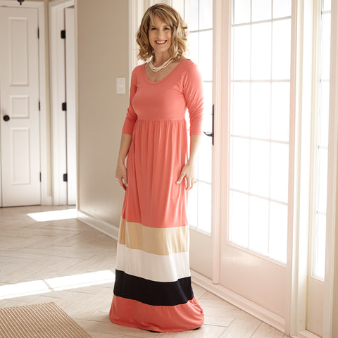 Ladies Coral Multi Stripe Maxi Dress