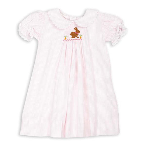 Light Pink Stripe Seersucker Bishop Dress with Bloomer
