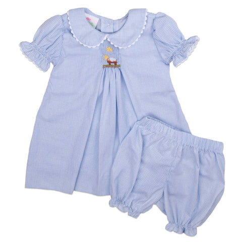 Blue Microcheck Baby Jesus Smocked Bloomer Set