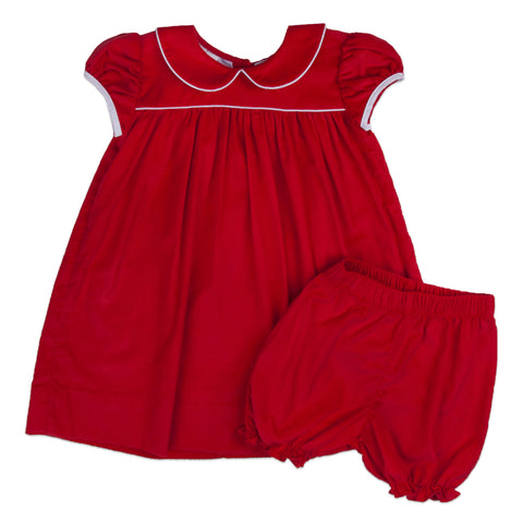 Red Corduroy Collar Empire Bloomer Set