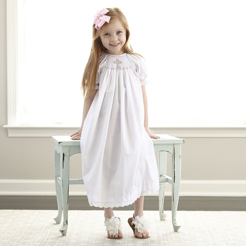 Pink Cross White Smocked Bishop Dress