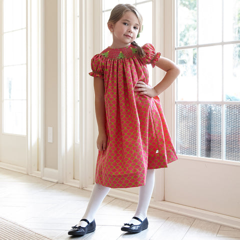 Christmas Tree Smocked Bishop Dress