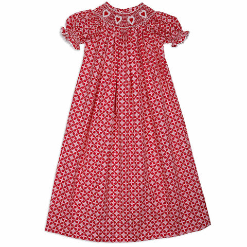 Hearts Smocked Bishop Dress with Bloomers
