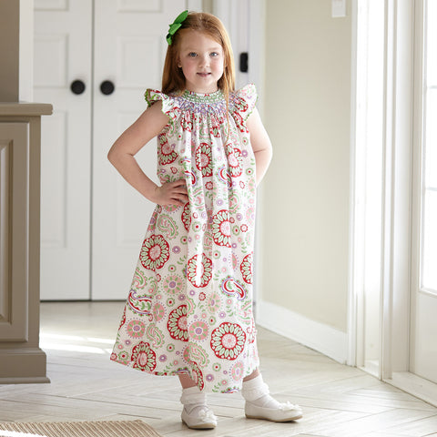 Paisley Smocked Bishop Dress