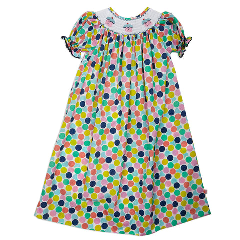 Birthday Cupcake Smocked Bishop Dress