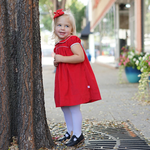 Red Corduroy Collar Empire Dress