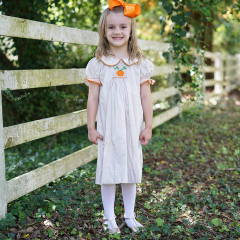 Tan Gingham Pumpkin Smocked Bishop Dress