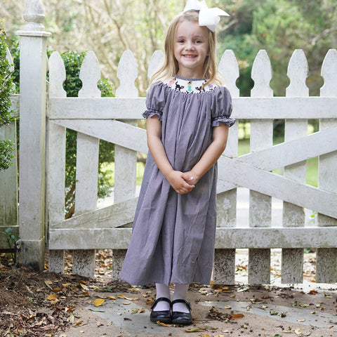 Black Check Halloween Smocked Bishop Dress