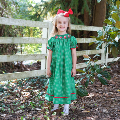 Green Dots Peppermints Smocked Bishop Dress