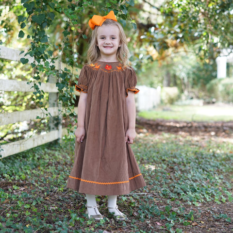 Brown Corduroy Leaves Smocked Bishop Dress