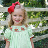 Lime Microcheck Santa Owls Smocked Bishop Dress