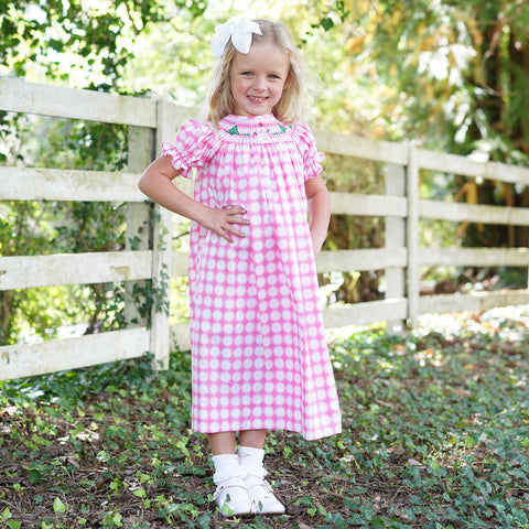 Pink Dot Snowman Smocked Bishop Dress
