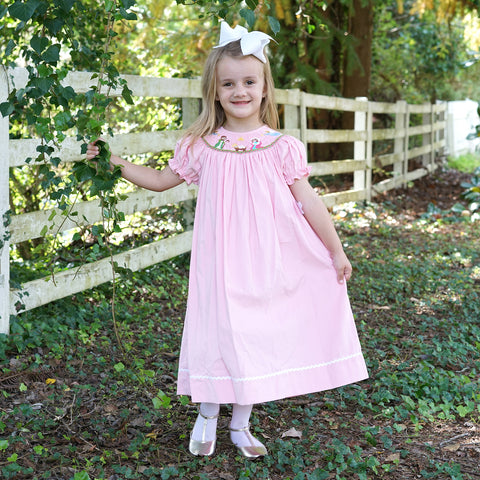 Pink Corduroy Nativity Smocked Bishop Dress