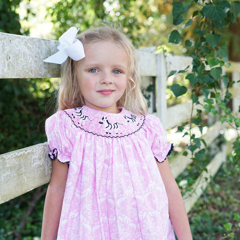 Pink Damask Zebras Smocked Bishop Dress