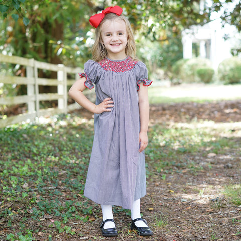 Black Gingham Smocking Dress