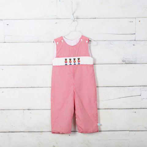 Red Microcheck Soldier Smocked Longall