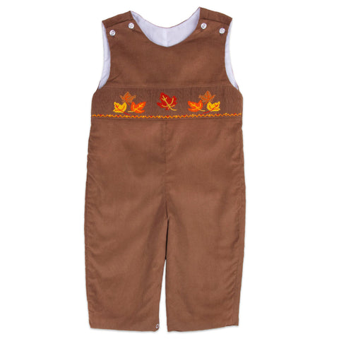 Brown Corduroy Leaves Smocked Longall