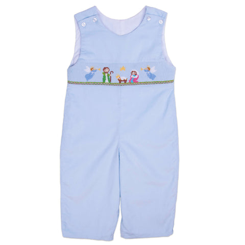 Blue Corduroy Nativity Smocked Longall